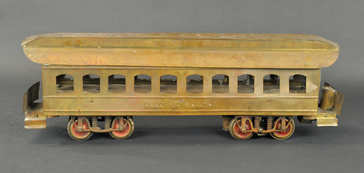Carlisle & Finch Electric Railway Interurban, 19 inches long, brass body with embossed sides, $12,980.