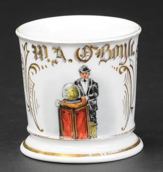 Occupational shaving mug with stockbroker motif, ex Bill Bertoia collection, $15,300. Bertoia Auctions image.