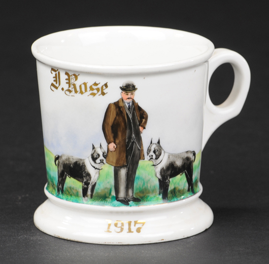 Occupational shaving mug with depiction of gentleman with two Boston bulldogs, dated 1917, ex Bill Bertoia collection, $8,200. Bertoia Auctions image.