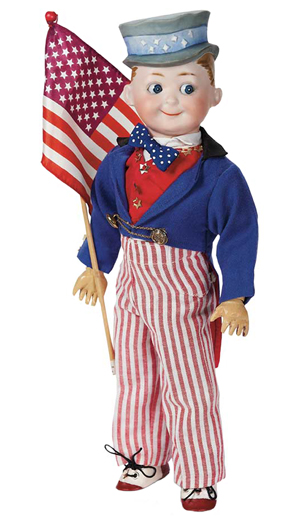 This Uncle Sam was made with googly eyes and a fancy cap, but no beard. This is a German doll made in about 1918, the year World War I ended. He is carrying a U.S. flag. The bisque doll, 14 inches high, sold for $2,350 at a 2012 auction hosted by Theriault's of Annapolis, Md.