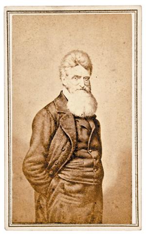 Circa-1858 carte de visite photograph of abolitionist and Harper's Ferry insurrection leader John Brown. Est. $400-500 in Heritage June 29, 2013 auction.