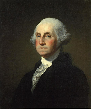Gilbert Stuart portrait of 'George Washington the first good president 1846,' painted March 20, 1797. This portrait was based on the uncompleted Athenaeum portrait by Stuart; the uncompleted portions were filled in by Rembrandt Peale. Painting is in the collection of the Clark Art Institute in Williamstown, Mass.