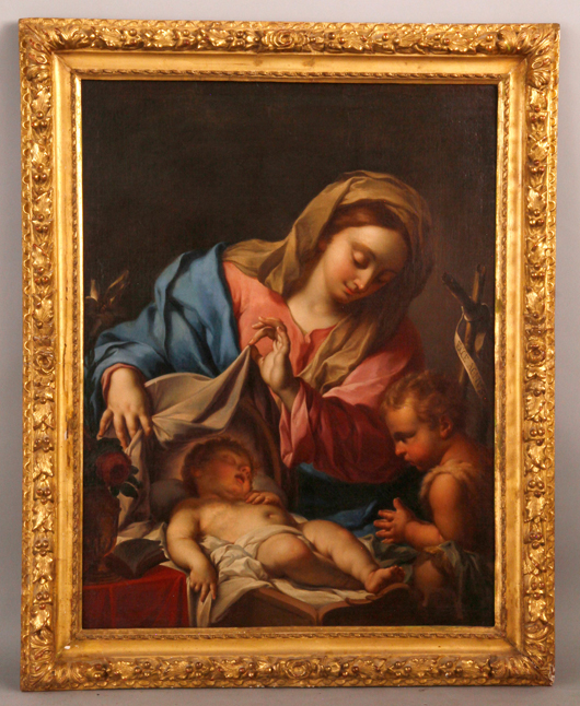 Attributed to Fracesco Trevisani (1656-1746), Madonna with child and St. John the Baptist, oil on canvas, 29 inches h x 38 inches w (view). Provenance: Purchased from Christies, New York in 1995.