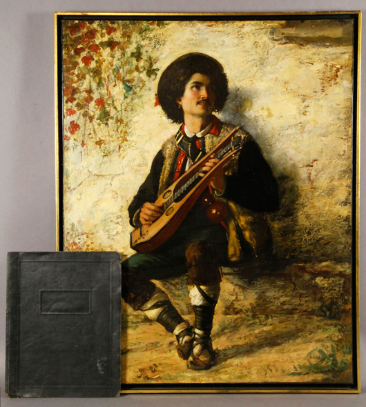 Federico Andreotti (1847-1930), Italian School painting of a mandolin player, oil on canvas, 28 3/4 inches h x 23 inches w (view).