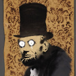 Banksy (English), portrait on cardboard of Abraham Lincoln. To be auctioned in Neal Auction Co.'s July 13-14 sale. Image courtesy of Neal Auction Co.