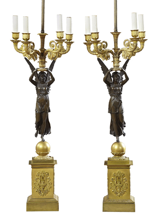 Pair of early 19th century French Empire patinated and gilt bronze four-light candelabra, est. $2,000-$4,000. Crescent City Auction Gallery image.