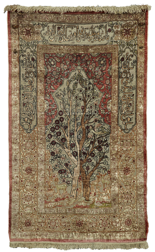 Mid-20th century Persian silk Tabriz carpet woven with silver thread, 2 feet 4 inches by 4 feet 4 inches, est. $3,000-$5,000. Crescent City Auction Gallery image.