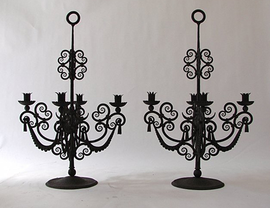 Alessandro Mazzucotelli wrought-iron candleholders, 1925, signed 'AM' in the iron. Est. €5,000-6,000. Nova Ars image.