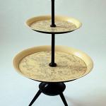 Piero Fornasetti three-tier tray of varnished and silkscreen-printed metal, circa 1950, manufacturer's mark. Est. €3,500-5,000. Nova Ars image.
