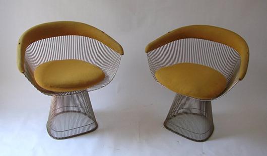 Warren Platner for Knoll '1725A' armchairs, 1966, metal frame and basketwork. Est. €3,000-5,000. Nova Ars image.