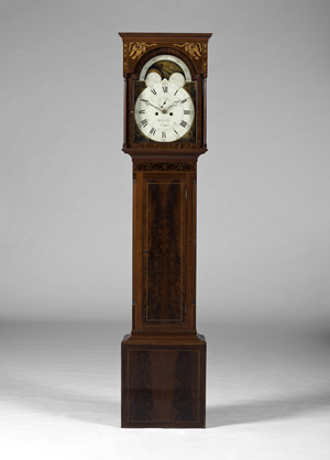 Charles Tinges inlaid Baltimore Federal tall-case clock, estimate $20,000/40,000. Cowan's image.