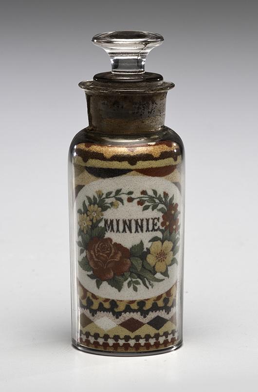 Andrew Clemens sand bottle, estimate $8,000/10,000. Cowan's image.