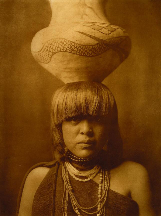 Edward S. Curtis (American, 1858-1952), 'Girl and Jar - San Ildefonso,' 1905, photogravure. Smithsonian American Art Museum. Transfer from the United States Marshal Service of the U.S. Department of Justice, 1988.5.18.