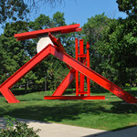 'Helmholtz,' 1985, by Mark di Suvero, painted and stainless steel. Image courtesy of Fort Wayne Museum of Art.