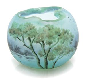 Miniature Daum cameo glass vase, diameter 1 3/16 in, est. $300-500. Leslie Hindman Auctioneers image.