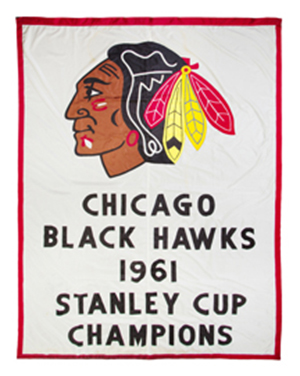 The original banner commemorating the Chicago Blackhawks' 1961 NHL championship sold at auction Tuesday for $37,500. Leslie Hindman Auctioneers image.