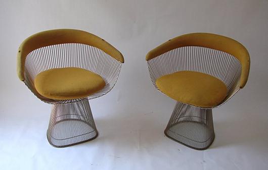Lot 49: Warren Platner, Knoll, A pair of 1725A armchairs, metal frame and basket-work, 1966. Literature: Éric Larrabee et Massimo Vignelli, 'Knoll au Musée,' H. N. Abrams, New York, 1981, p. 160. Estimate: €3,000-5,000, starting bid: €1,500. Courtesy Nova Ars Asti.