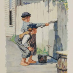Norman Rockwell (American, 1894-1978), 'White Washing The Fence,' Tom Sawyer series lithograph 20in x 15in (image), pencil signed lower right, artist's proof. Sold Jan. 27, 2013 by Fairfield Auction. Image courtesy of LiveAuctioneers.com Archive and Fairfield Auction LLC.