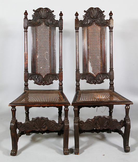 William And Mary Scallop Carved Walnut Side Chairs. Kaminski Image.