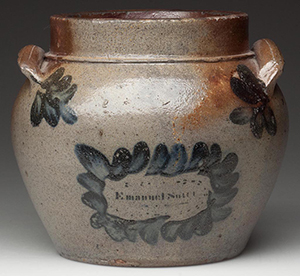 Signed 'Emanuel Suter,' Rockingham Co., Shenandoah Valley of Virginia salt-glazed stoneware honey or sugar pot, circa 1851. The 5-inch pot sold for $86,250, a new record price for Virginia pottery. Jeffrey S. Evans & Associates image.