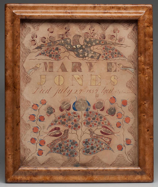 Extremely rare Frederick Co., Shenandoah Valley of Virginia fraktur, watercolor, ink and gold leaf on paper, a death record for Mary E. Jones, circa 1849. 9 3/4 inches x 7 3/4 inches sight. Price: $29,990. Jeffrey S. Evans & Associates image.