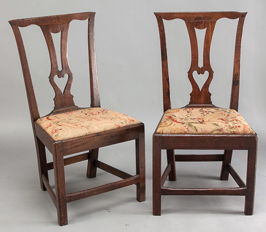 An important pair of Southside Virginia Chippendale black walnut side chairs, probably Southampton or Greensville Co., circa 1765-1785. Price: $26,450. Jeffrey S. Evans & Associates image.