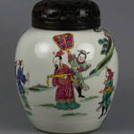 18th/19th century famille verte covered jar, 8in tall, Chinese signature on side of jar, underglaze blue double-circle mark, possibly Kangxi Period (1662-1722). Est. $1,000-$5,000. Manatee Galleries image.