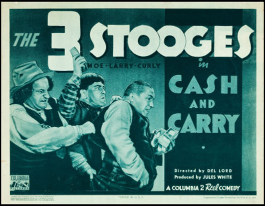 'The Three Stooges in Cash and Carry' (Columbia, 1937). Title lobby card (11 inches x 14 inches). Fine+. Estimate: $4,000-$8,000. Heritage Auctions image.