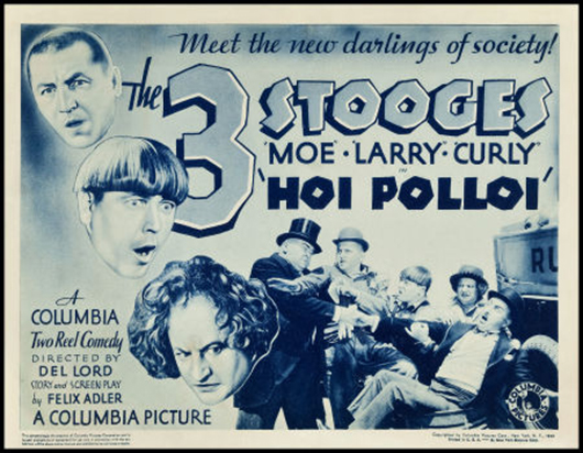 'The Three Stooges in Hoi Polloi' (Columbia, 1935). Title lobby card (11 inches x 14 inches). Fine+. Estimate: $6,000-$10,000. Heritage Auctions image.