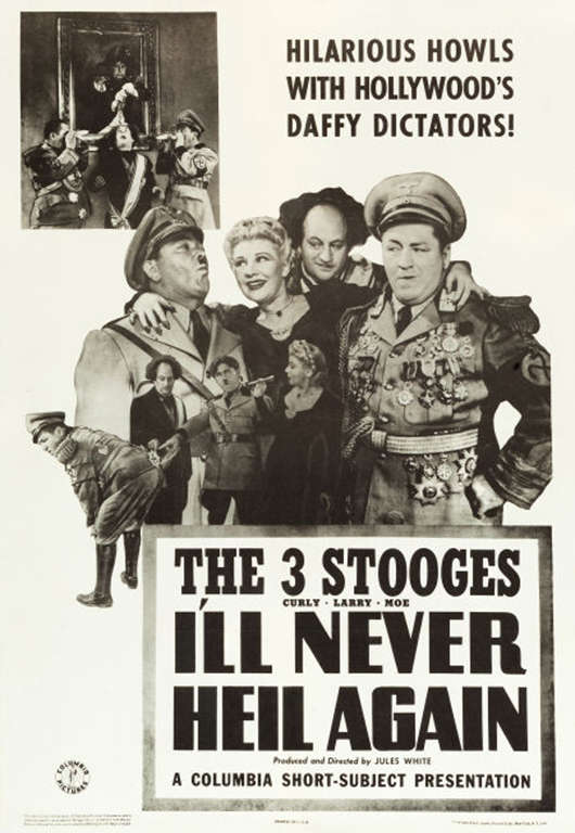 'The Three Stooges in I'll Never Heil Again' (Columbia, 1941). One sheet (27 inches x 41 inches). Very fine on linen. Estimate: $6,000-$12,000. Heritage Auctions image.