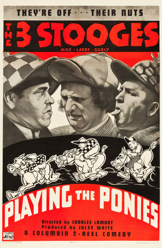 'The Three Stooges in Playing the Ponies' (Columbia, 1937). One sheet (27 inches x 41 inches. Fine/very fine on linen. Estimate: $20,000-$40,000. Heritage Auctions image.