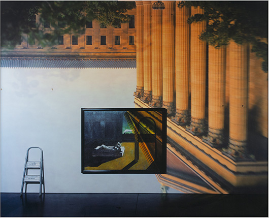 Camera Obscura Image of the Philadelphia Museum of Art, East Entrance in Gallery with a de Chirico Painting, 2005 (image); 2009 (print). Abelardo Morell, American (born Cuba), born 1948. Pigmented inkjet print, mounted to Dibond, Image/Sheet/Mount: 59 3/4 x 75 1/2 inches (151.8 x 191.8 cm). Philadelphia Museum of Art, Gift of the artist in memory of Anne d'Harnoncourt, 2009.