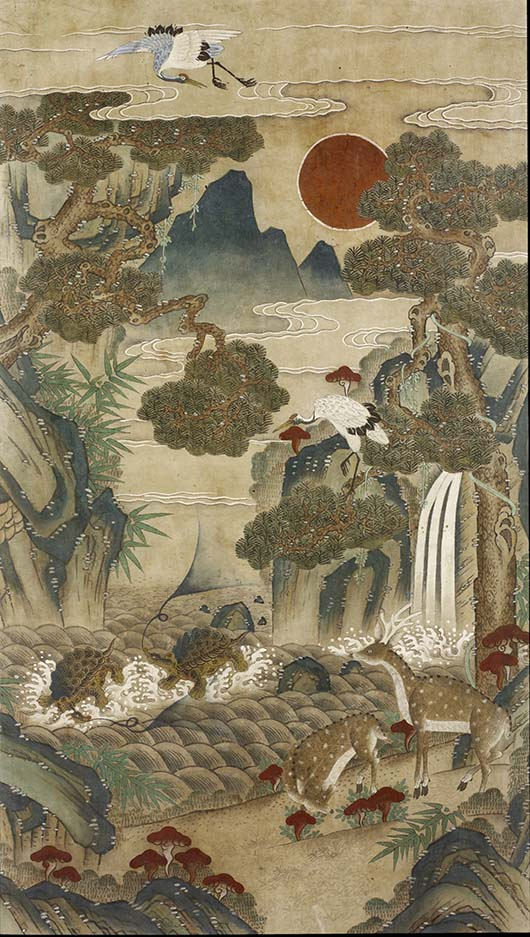 Ten Longevity Symbols, 19th century. Artist/maker unknown, Korean. Ink and colors on paper; framed, 57 × 35 1/2 inches (144.8 × 90.2 cm). Philadelphia Museum of Art, Purchased with the James and Agnes Kim Fund for Korean Art Acquisitions, 2009.