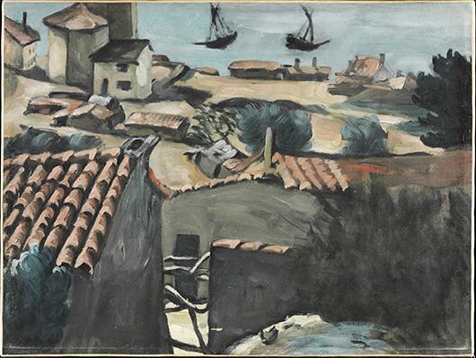 'The Fishermen's Village at L'Estaque,' c. 1870. Paul Cézanne, French, 1839 - 1906. Oil on canvas, 16-1/2 x 21-3/4