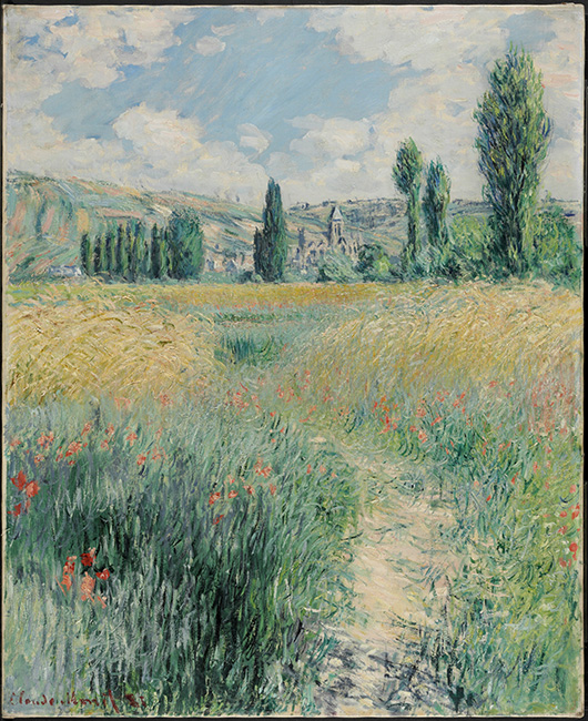 'Path on the Island of Saint Martin, Vétheuil,' 1881. Claude Monet, French, 1840 - 1926. Oil on canvas, 29 x 23 1/2 inches (73.7 x 59.7 cm). Philadelphia Museum of Art, 125th Anniversary Acquisition. Gift of John C. Haas and Chara C. Haas, 2011.