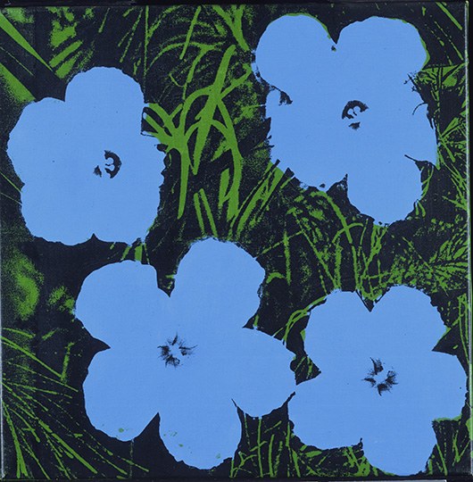 'Flowers,' 1964. Andy Warhol, American, 1928 - 1987. Screenprint on canvas, 24 x 24 x 1 inches (61 x 61 x 2.5 cm). Partial and promised gift of Anne d'Harnoncourt and Joseph Rishel in memory of Sarah Carr d'Harnoncourt, 2001. © Andy Warhol Foundation for the Visual Arts / Artists Rights Society (ARS), New York.