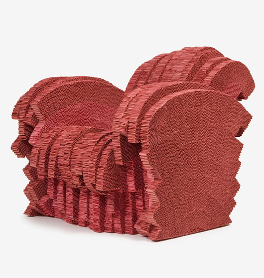 'Red Beaver' Armchair, 1986. Designed by Frank O. Gehry, American (born Canada), 1929. Dyed corrugated cardboard, 33 3/4 x 33 1/4 x 42 1/4 inches (85.7 x 84.5 x 107.3 cm). Philadelphia Museum of Art, Gift of Vitra GmbH, Basel, Switzerland, 2009.