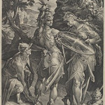 Jan Muller, after Bartholomaeus Spranger, 'Minerva and Mercury Arming Perseus,' 1604, engraving, National Gallery of Art, Washington, Gift of Ruth Cole Kainen.