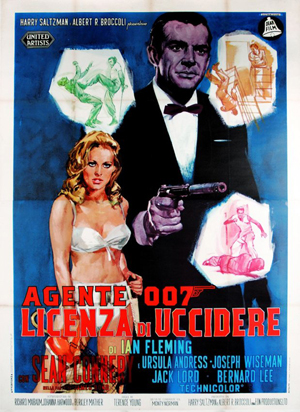 Agente 007 Licenza di uccidere, affisso 4 fogli in prima edizione italiana 1963, cm 140x200, base d'asta €1.900, stima €4.000. Courtesy Little Nemo, Torino.