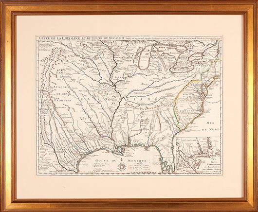 This 1718 map by Guillaume de l'Isle, published in Paris, shows the full extent of the French territory of 'La Louisiane' bordering the cluster of American colonies on the East Coast. The important document brought $13,743 at Neal's last November. Image courtesy Neal Auction Galleries.