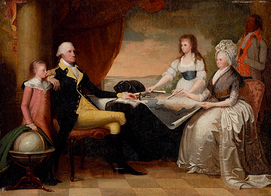 The Washington family gathers round the new plan for a national capital city drawn up by Pierre L'Enfant. This painting by Edward Savage, the keynote image of the 'Common Destinations' exhibition, is a perfect illustration of the role maps played in American public and private life. Image courtesy Winterthur Museum; Bequest of Henry Francis du Pont.