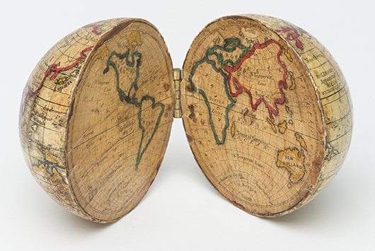 Today, this pocket globe from the Holbrook Apparatus Manufacturing Co. of  Wethersfield, Conn., 1830–59, might be called a learning toy. To a young student in the 19th century, the three-dimensional paper and wood map was a prized possession that extended his knowledge of the world. Image courtesy Winterthur Museum; Bequest of Henry Francis du Pont.