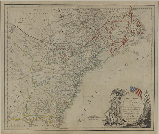 Not long after the Revolutionary War, John Wallis in London published 'The United States of America Laid Down From the Best Authorities, Agreeable to the Peace of 1783,' a copy of which is on display in Winterthur's current map exhibition. Image courtesy Winterthur Museum; Bequest of Henry Francis du Pont.