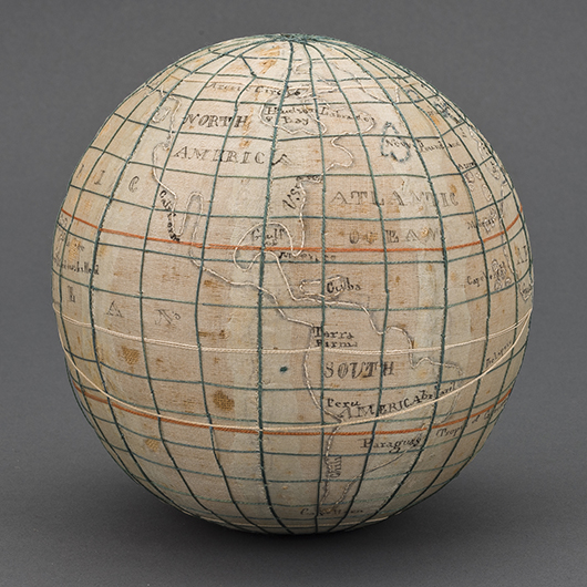 After spending many hours stitching this circa 1815 sampler globe, young Ruth Wright a student in Westtown, Pa., would have known her geography. The sampler map is one of several in the Common Destinations exhibition at Winterthur. Image courtesy Winterthur Museum.