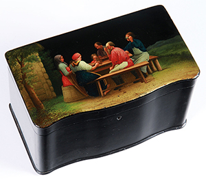 One of a group of Russian lacquerware items (circa 1825-1945) and forming a collection comprising about 100 lots that totaled $110,000. Jackson's image.