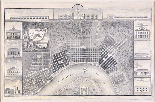 Printed in the United States in 1825, this map shows the city and suburbs of New Orleans according to an 1815 survey conducted by Jacques Tanesse. City maps are sought after by collectors and historians, and this plan framed by vignettes of city buildings sold for $16,133 at Neal's in 2011. Image courtesy Neal Auction Galleries.