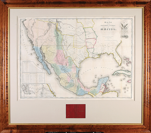 Who owned what in North America looked very different when John Disturnell of New York published this 'Mapa de los Estados Unidos de Mejico … ' in 1847. The historic map brought $107,550 at Neal's in 2011. The map was an important reference in negotiating the Treaty of Guadalupe-Hildalgo, which established the border between Texas and Mexico. Image courtesy Neal Auction Galleries.