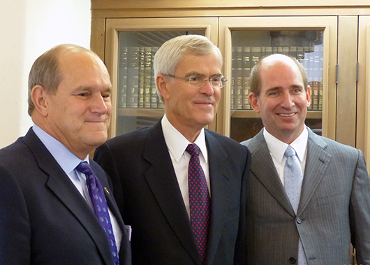 Left to right: University of New Mexico President Robert Frank, former US Senator Jeff Bingaman, and Western New Mexico University President Joseph Shepard at a ceremony to commemorate the July 12, 2013 contribution of Bingaman's Congressional papers to UNM. Photo courtesy of University of New Mexico.