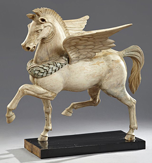 Large polychrome-painted, carved wood figure of Pegasus, sold for $2,488.50. Image courtesy of LiveAuctioneers.com Archive and Crescent City Auction Gallery.