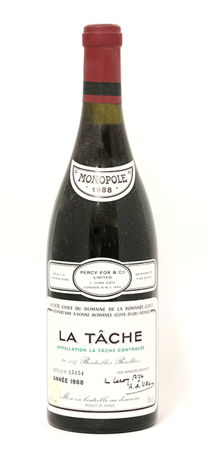 A bottle of 1988 La Tâche DRC from the Domaine de la Romanée-Conti estate in Burgundy. Image courtesy of Sworders.